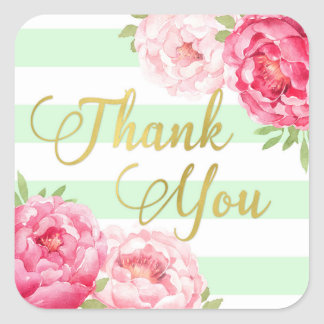 Mint Stripes Gold Pink Floral Thank You Favor Tags Square Sticker