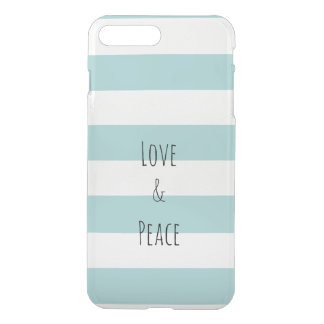 Mint Stripes Love and Peace iPhone 8 Plus/7 Plus Case