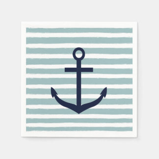 Mint Stripes Nautical Anchor Paper Napkin