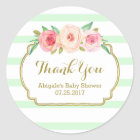 Mint Stripes Pink Floral Baby Shower Favour Tags