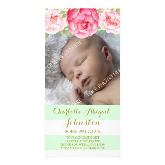 Mint Stripes Pink Flowers Thank You Baby Shower Card