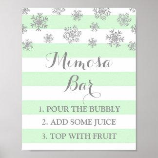 Mint Stripes Silver Snow Mimosa Bar Sign