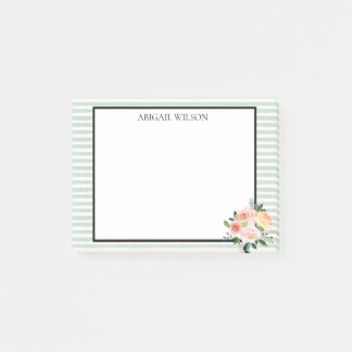 Mint Stripes Spring Peonies Personalized Post-it Notes