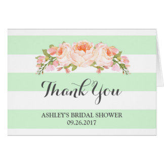Mint Stripes Watercolor Bridal Shower Thank You Greeting Card