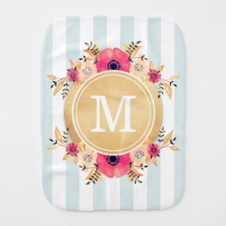 Mint Stripes Watercolor Flowers Faux Gold Monogram Burp Cloth