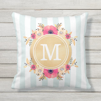 Mint Stripes Watercolor Flowers Faux Gold Monogram Throw Pillow