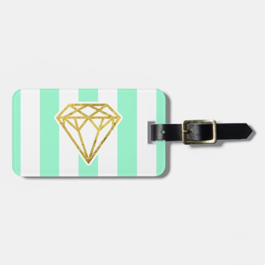Mint Stripes with Gold Foil Diamond Luggage Tag