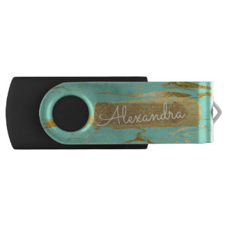 Mint Teal Blue Marble with Gold Foil and Glitter USB Flash Drive