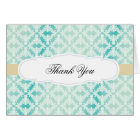 Mint Teal Gold Damask Thank You Card