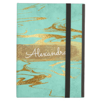 Mint Teal & Gold Marble with Gold Foil and Glitter iPad Air Cover
