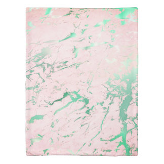 Mint Teal Pink White Marble Stone Abstract Emerald Duvet Cover