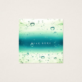 Mint Tiffany White Abstract Water Ocean Balls Square Business Card