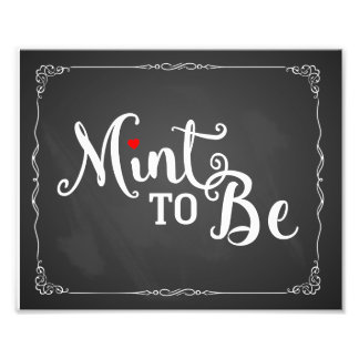 mint to be, wedding favor, wedding sign, vintage photographic print