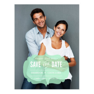 Mint Transparent Label | Save the Date Postcard