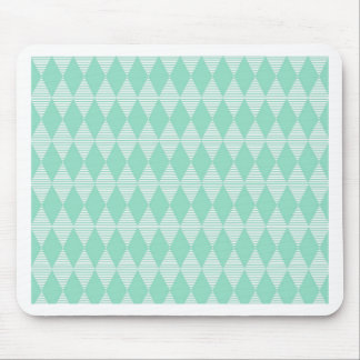 Mint Triangle - Diamond pattern with white stripes Mouse Pad