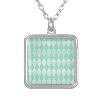 Mint Triangle - Diamond pattern with white stripes Silver Plated Necklace