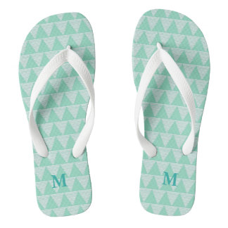 Mint triangle pattern white stripes Monogram Flip Flops