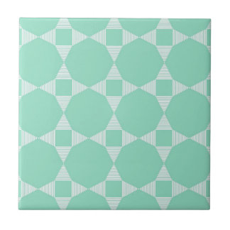 Mint Triangle - Star pattern with white stripes Ceramic Tiles