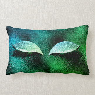 Mint Tropic Bue Glitter Black Lashes Glam Make Up Lumbar Pillow
