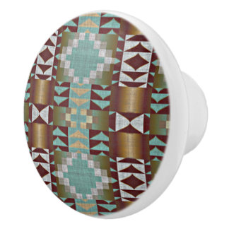Mint Turquoise Green Brown Eclectic Ethnic Art Ceramic Knob