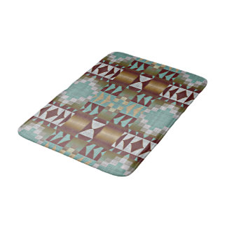 Mint Turquoise Green Brown Eclectic Ethnic Look Bath Mat