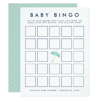 Mint Umbrella | Baby Shower Bingo Game Card