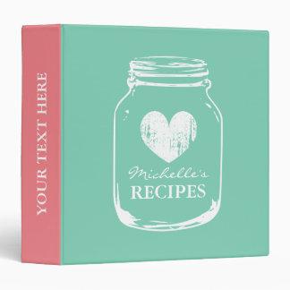 Mint vintage mason jar kitchen recipe binder book