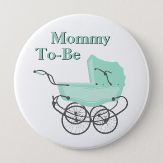 Mint Vintage Pram Mommy To Be Baby Shower Button