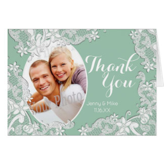 Mint Vintage Style Lace Photo Thank You Card