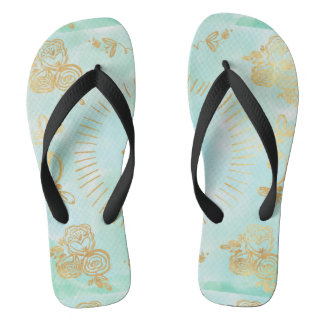 mint,water colour,gold,hand painted,trendy,modern, flip flops