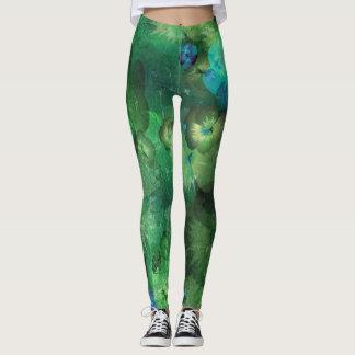 Mint Watercolor Floral Pattern Leggings