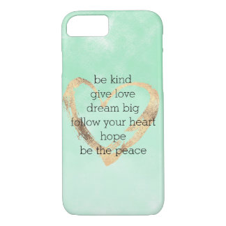 Mint Watercolor Gold Heart Inspirational Quotes iPhone 8/7 Case