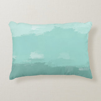 Mint Watercolor Ombre Accent Pillow