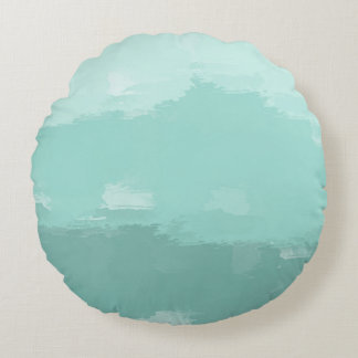 Mint Watercolor Ombre Round Pillow