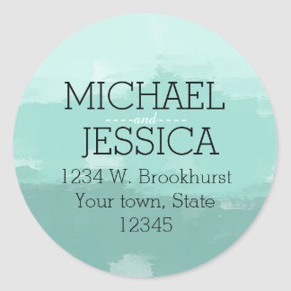 Mint Watercolor Personalized Classic Round Sticker