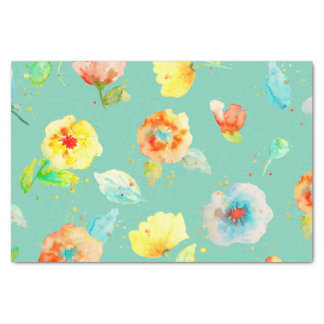 Mint Watercolor Poppies Tissue Paper