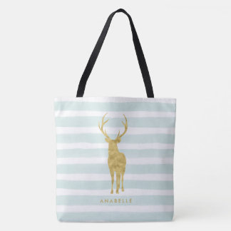 Mint Watercolor Stripes and Faux Gold Deer Tote Bag