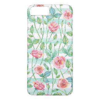 Mint Watercolor Stripes Pink Roses iPhone 8 Plus/7 Plus Case