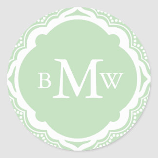 Mint Wedding Monogram Stickers
