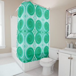 MInt White Abstract Swirl Pattern