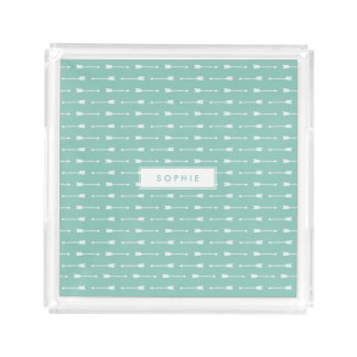 Mint & White Arrows Pattern Personalized Acrylic Tray