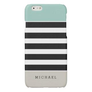 Mint White Black Beige Stripes - Simple Elegant