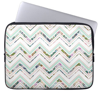 Mint & White Chevron & Floral Laptop Sleeve Case