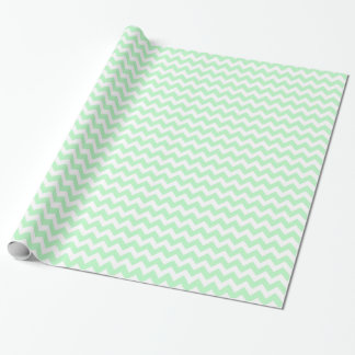 Mint White Chevron Zig-Zag Pattern Wrapping Paper