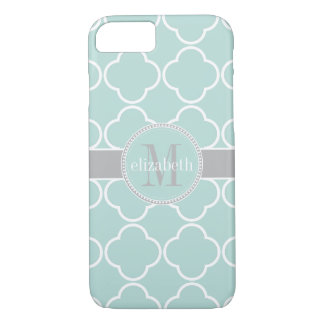 Mint | White | Gray Quatrefoil Clover Monogram iPhone 8/7 Case