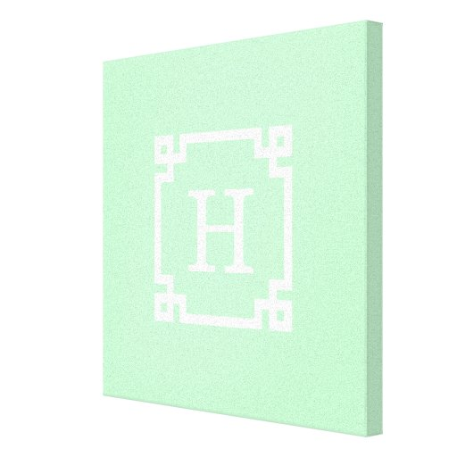 Mint White Greek Key Frame #2 Initial Monogram Stretched Canvas Prints