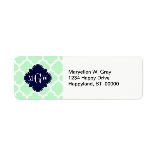 Mint, White Moroccan #5 Navy 3 Initial Monogram