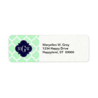 Mint, White Moroccan #5 Navy 3 Initial Monogram Return Address Label