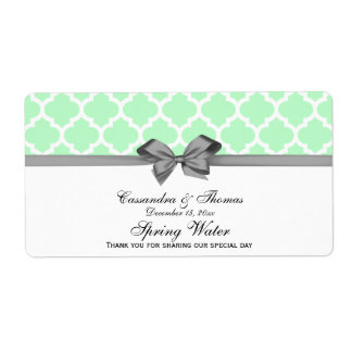 Mint, White Moroccan Gray Party Water Label Shipping Label