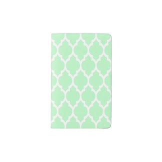 Mint White Moroccan Quatrefoil Pattern #4 Pocket Moleskine Notebook